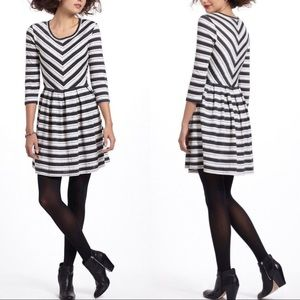 Anthropologie Puella Black and White Striped Dress